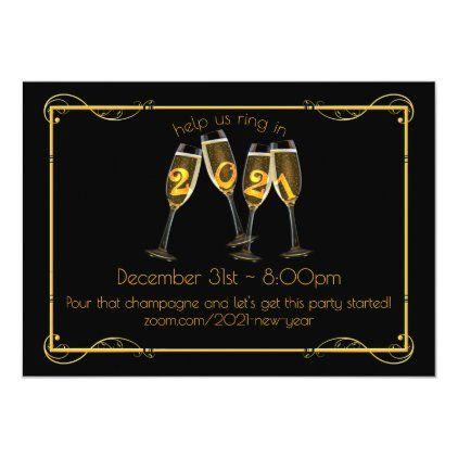 2021 Champagne Art Nouveau Virtual New Year S Eve Invitation Zazzle Com In 2020 New Years Eve Invitations Custom Holiday Card Virtual Invitations