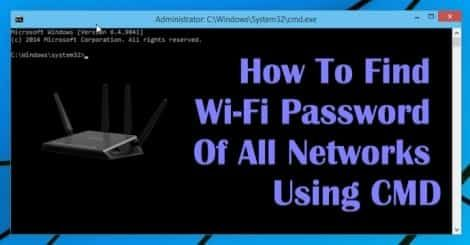 How To Find Wi Fi Password Of All Connected Networks Using Cmd Wifi Networking Wifi Hack