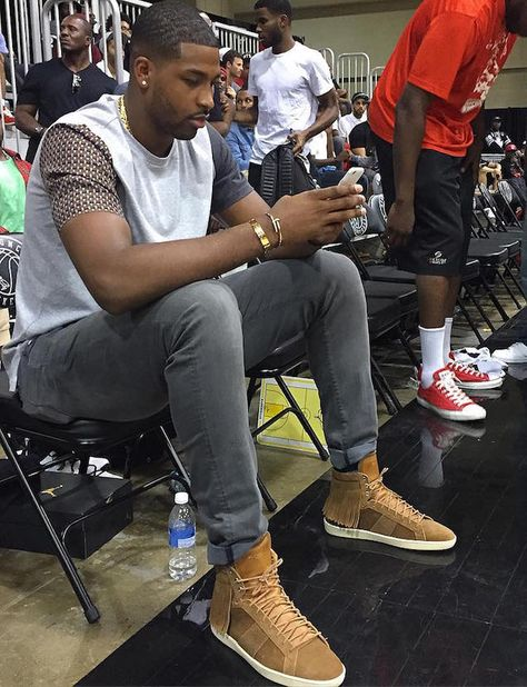 Tristan Thompson Court-side Wearing Saint Laurent Fringed Sneakers at OVO Bounce in Toronto