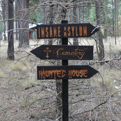 Halloween Lawn Ornament Directional Sign - Haunted House Cemetery Insane Asylum - Carved Cedar Wood