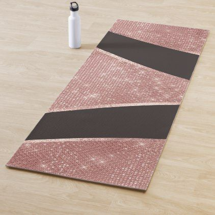 Glamorous Sparkly Silver Rose Gold Glitter Geo Yoga Mat Zazzle Com Silver Rose Gold Rose Gold Glitter Silver Roses
