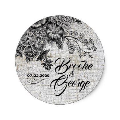 Vintage Black Grey Flowers Wedding Sticker Zazzle Com Wedding Stickers Grey Flowers Black Grey