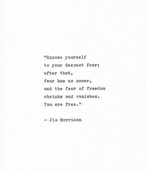 """Jim Morrison Inspirational Hand Typed Quote """"Your deepest fear"""" Vintage Typewriter Letterpress Ameri"""