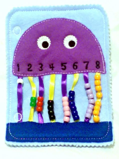 Quiet book learning numbers – busy book – toddler learning toy – educational gift – church quiet book – preschool toy – SALE Quiet activity book addon page Jellyfish bead counting page educational game busy bags quiet book Diy Quiet Books, Baby Quiet Book, Felt Quiet Books, Diy Busy Books, Sensory Book, Quiet Book Patterns, Learning Numbers, Numbers Preschool, Toddler Books