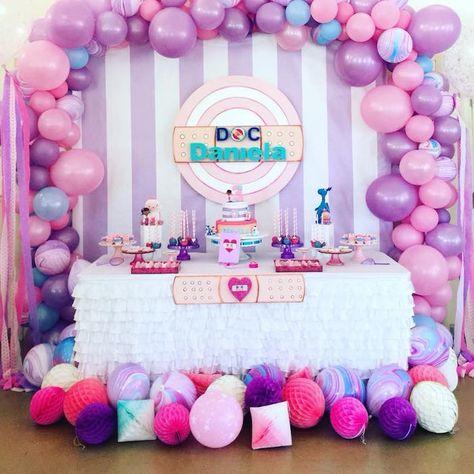 Doc McStuffin's Birthday Party Ideas Birthday Party Tables, 3rd Birthday Parties, Carnival Birthday, Birthday Celebrations, 4th Birthday, Birthday Ideas, Cheap Party Decorations, Girl Birthday Decorations, Doc Mcstuffins Birthday Cake