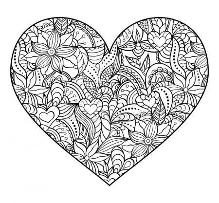 Abstract Heart On White Background Mandala Coloring Pages Mandala Coloring Heart Coloring Pages