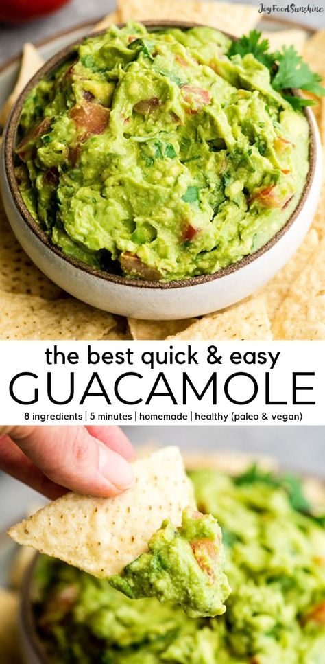 This quick easy guacamole recipe is made with a handful of healthy ingredients and is ready in 5 minutes! This simple guacamole dip is our favorite appetizer and we always make it on taco nights! Watch the video to learn how to make this guacamole recipe! Guacamole Dip, Guacamole Recipe Easy, Homemade Guacamole, Simple Avocado Dip Recipe, Easy Avocado Recipes, Easy Yummy Recipes, Simple Healthy Recipes, Avacado Dip, Gourmet