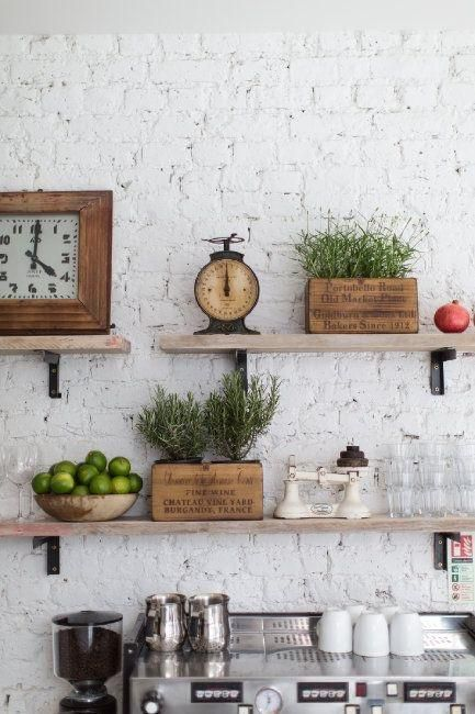 40 Farmhouse Shelving And Wall Decor Ideas Brick Interior Wall Vintage Kitchen Sweet Home