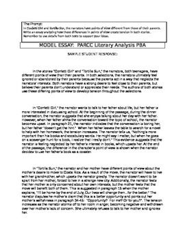 Parcc Literary Analysis Teacher Model Example Essay 8th Grade