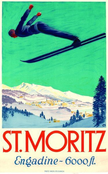 MORITZ SWITZERLAND SKI WINTER SPORT ENJOY RIDE VINTAGE REPRO FREE S//H POSTER ST