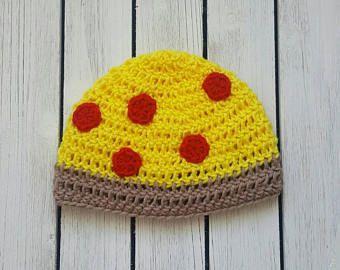 Hat in All Sizes Pepperoni Pizza Beanie Crochet Newborn Photo Prop