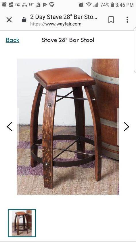2 Day Designs Reclaimed 28 Inch Stave Wine Barrel Bar Stool With Wood Seat Oak 2daydesigns Rustic With Images Wine Barrel Bar Wine Barrel Bar Stools Bar Stools