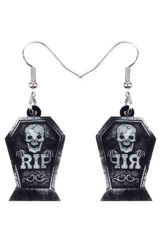 Gothic Pirate Skull Short Drop Earrings