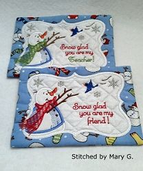Snow Glad Mug Rug - 5x7 | What's New | Machine Embroidery Designs | SWAKembroidery.com