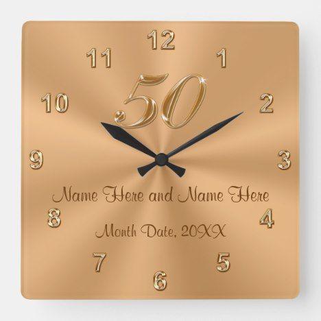 Personalized Golden Wedding Anniversary Gift Clock Zazzle Com Golden Wedding Anniversary Gifts Wedding Anniversary Gifts Anniversary Gifts