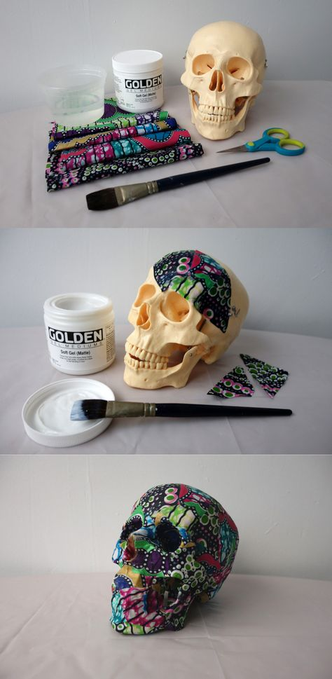 9 art techniques that can inspire creativity - Fabric Crafts Projects Skull Fabric, Fabric Art, Fabric Crafts, Creative Crafts, Kids Crafts, Diy And Crafts, Sugar Skull Art, Sugar Skull Crafts, Sugar Skulls