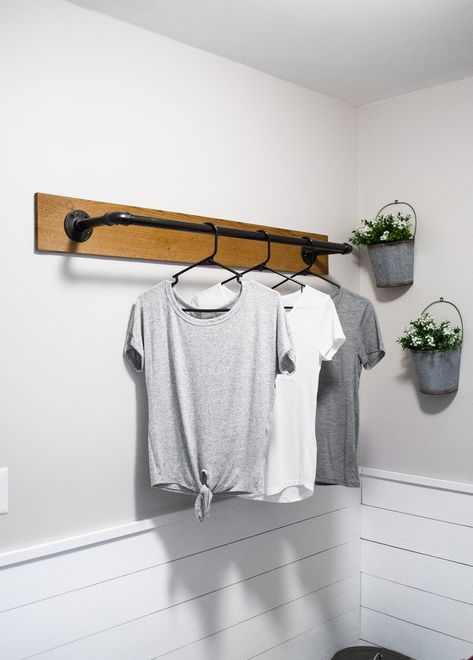 22 DIY Clothes Racks in 2020 - Organize Your Closet Whether you need storage for your laundry room, closet, or in a guest room, making an aesthetically pleasing clothing rack is incredibly easy. Diy Clothes Rack, Laundy Room, Wall Mounted Clothing Rack, Laundry Closet, Room Diy, Laundry Decor, Room Makeover, Laundry Rack