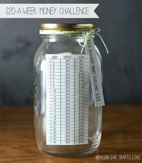 20 A Week Challenge Mason Jar Crafts Love Money Challenge Money Saving Jar Money Saving Challenge