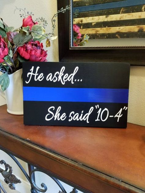 THIN BLUE LINE Engagement sign. Police Wedding. Police Wood Wall Plaques. Police Officer gifts, Poli