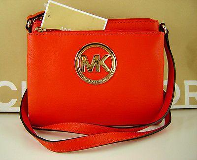 1346701037 NWT MICHAEL KORS FULTON MK Leather Large Crossbody Bag Purse MANDARIN ORANGE
