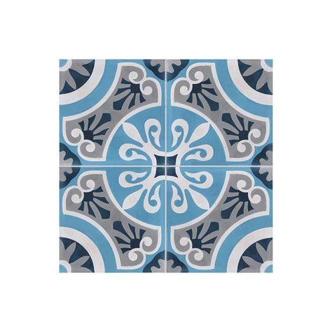 Carreau De Ciment Colore Motif 4 Carreaux Bleu Clair Et Fonce
