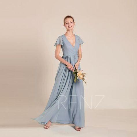 4721a816b7 Bridesmaid Dress Dusty Blue Chiffon Dress Wedding Dress V Neck Maxi Dress  with Bow Ruffled Sleeves Prom Dress Long A-line Party Dress(L470)