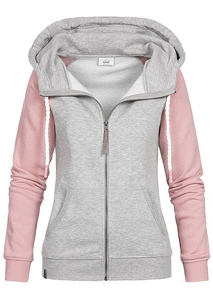 competitive price 9b474 0af54 ONLY Damen Zip Hoodie Kapuze 2-Tone 2 Taschen hell grau ...