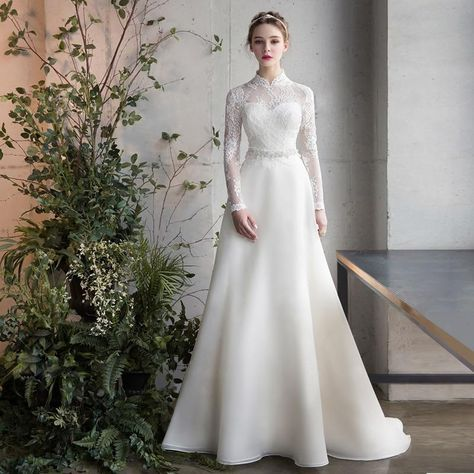 Long Sleeve Sashe Lace Satin Winter Wedding Gown Gaun Pengantin Sederhana Pakaian Pernikahan Gaun Pengantin Satin