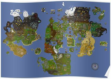 runescape world map poster Runescape Map Oldschool Poster Old School Runescape Imaginary