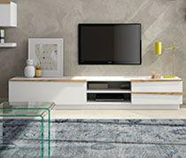 Meuble TV Moderne Blanc Laqué Mate Et Couleur Bois SIBI SOFAMOBILI - Sofamobili meuble tv pour idees de deco de cuisine