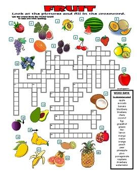 Fruit Crossword Puzzle With Pictures Food Learning English For Kids Crossword English Worksheets For Kids