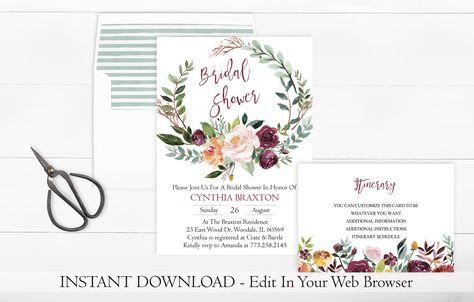 Printable Wreath Bridal Shower Invitation Template | Rustic Bridal Shower Invitation | Instant Download | Fall Bridal Shower Invite | PDF