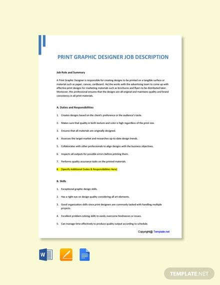 Free Print Graphic Designer Job Description Template Word Doc Google Docs Job Description Template Job Description Job Ads