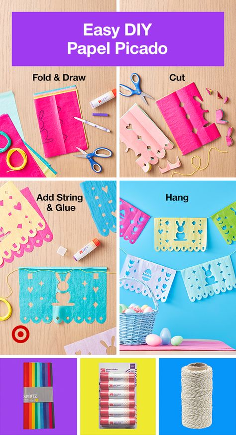 Add a DIY touch to your Easter decor. Pattern, paper, and string make this Papel Picado super easy.
