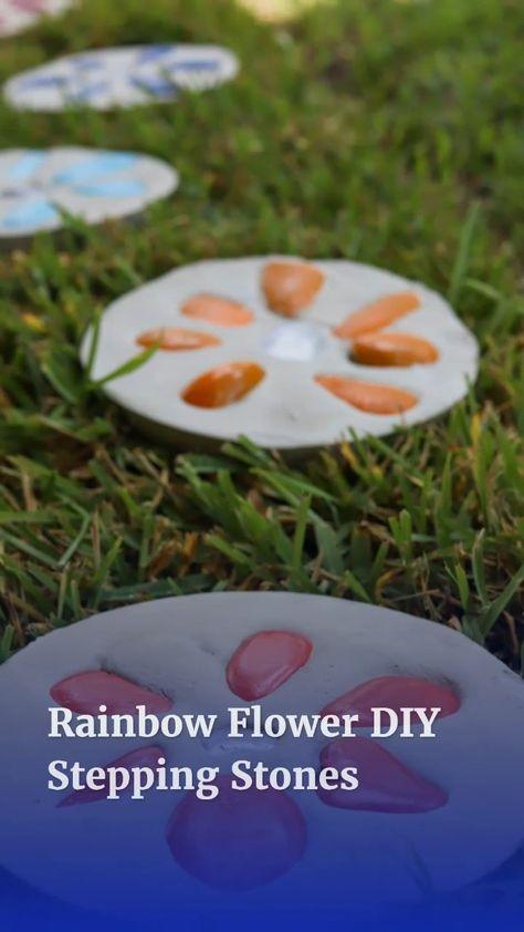 Rainbow Flower DIY Stepping Stones