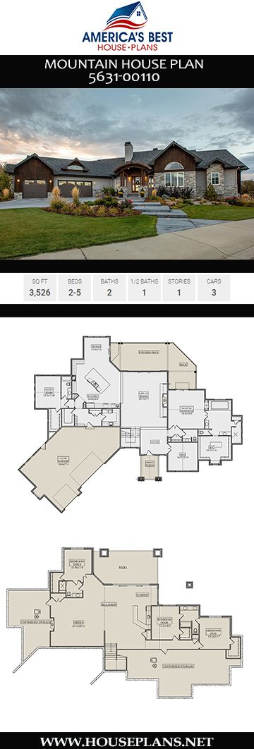 House Plan 5631 00110 Mountain Plan 3 526 Square Feet 2 5 Bedrooms 2 5 Bathrooms Mountain House Plans Lake House Plans Basement House Plans