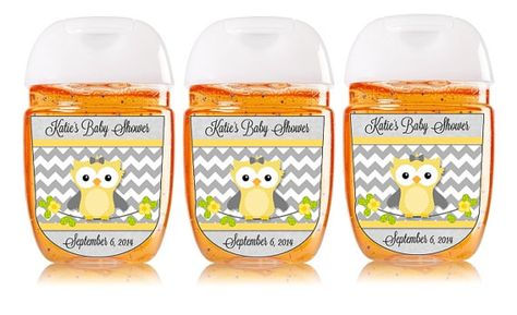 Custom Baby Shower Owl Hand Sanitizer Labels By Mybabiesbreath
