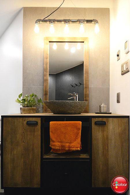 Une salle de bain aux accents champêtres