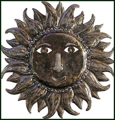 "Handcrafted Sun Design Metal Wall Hanging - Haiti Oil Drum Art - 24"" x 24"" -  $84.95 -  Steel Drum Metal Art from  Haiti - Interior or Garden Décor   * Found at  www.HaitiMetalArt.com"