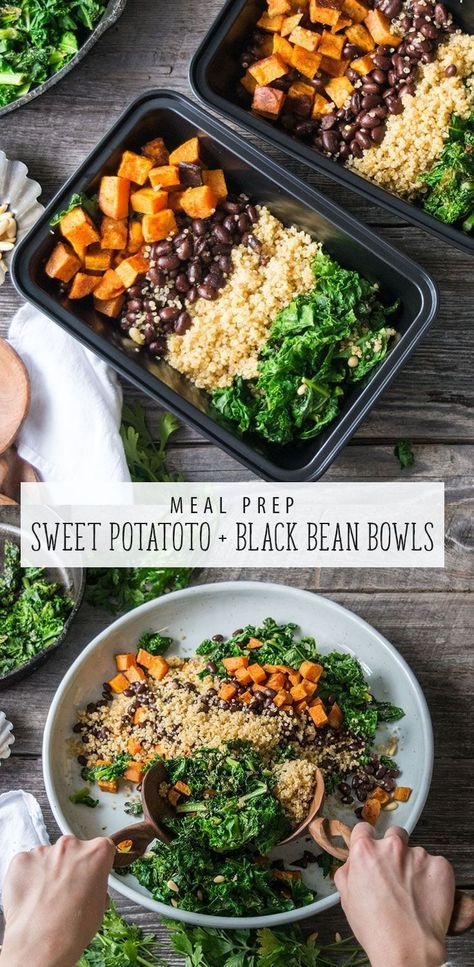 Vegan Sweet Potato And Black Bean Bowl Is An Easy Meal Prep Recipe This Vegan Recipe Is Great For Lunch Or Dinner Easy Meal Prep Meals Vegan Meal Prep