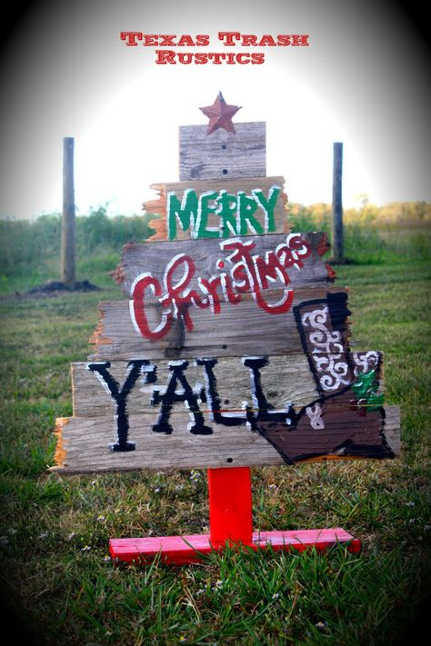 Rustic Western Christmas Tree by TexasTrashRustics on Etsy, $25.00 bet we could do this, all these neighborhoods have lost ofold fencing slats. Joy I thought of you.