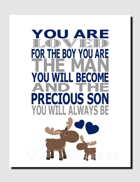 Moose Nursery Wall Art, Woodland Nursery Art, Moose Wall Decor, Baby Moose, Boy Nursery, Navy Gray, You Are Loved, Quote Art For Boy, Print by vtdesigns on Etsy