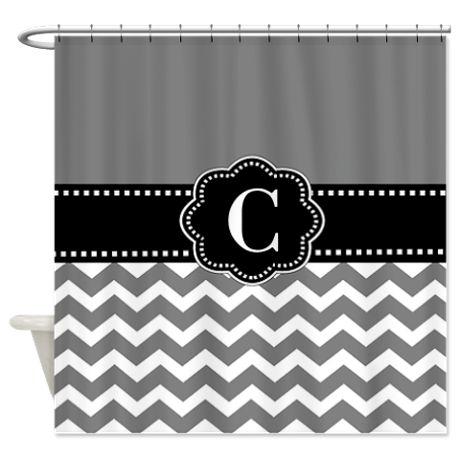 Gray Black Chevron Monogram Shower Curtain on CafePress.com