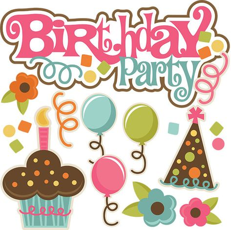Birthday party Scrapbook Embellishment 3-D or flat paper piecing