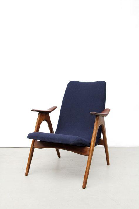 Vintage Design Fauteuil.Vintage Blauwe Deens Design Fauteuil Armchair Danish Design