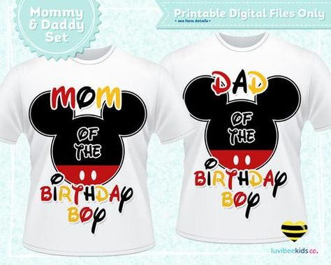 Mickey Mouse Mom Dad Birthday Shirt Set