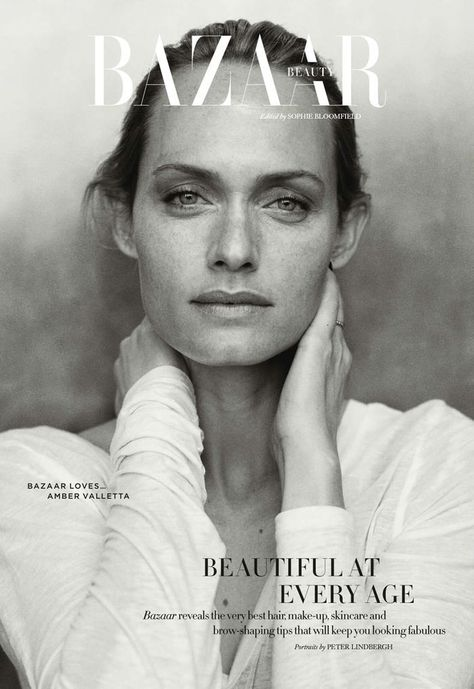 Harper's Bazaar Beauty UK Abril 2014 | Amber Valetta por Peter Lindbergh