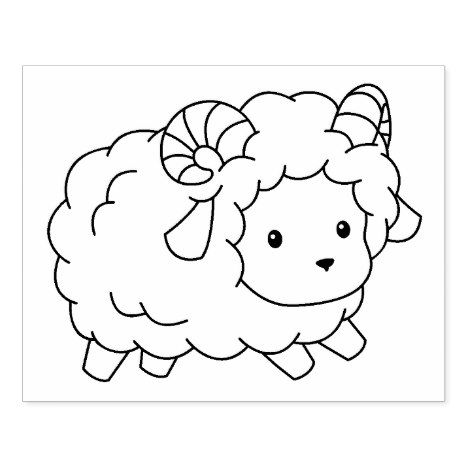 Cute Little Sheep Ram Coloring Page Rubber Stamp Zazzle Com Sheep Illustration Sheep Drawing Sheep Tattoo