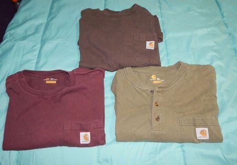 Lot of 3 Carhartt workwear pocket shirt short sleeves 2XL Original Fit Cotton…