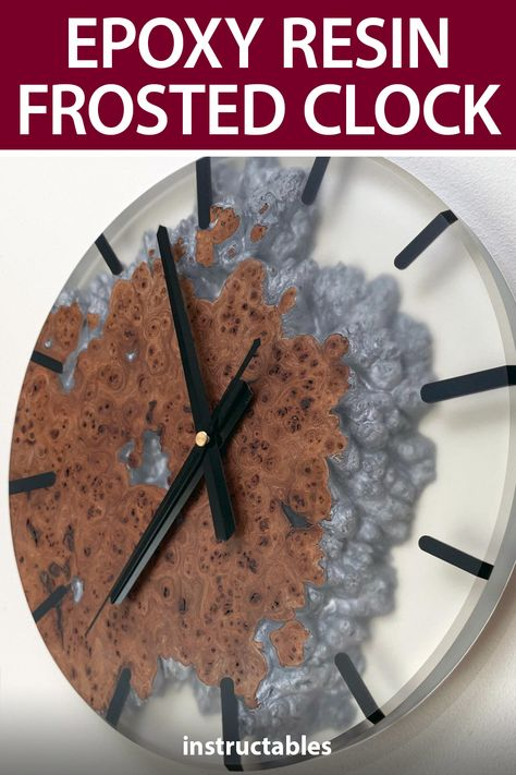 Well Done Tips made this stylish frosted wall clock from a combination of elm burr and epoxy resin with a cloud of dye floating in there. #Instructables #workshop #home #decor #woodworking